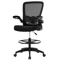 Mesh Drafting Chair Tall Office Chair Drafting Stool with Ar