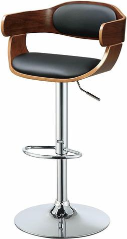 Modern Adjustable Cambered Black Faux Leather Stool Height S