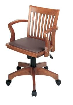 Office Star Products Deluxe Wood Banker's Chair with Arms an