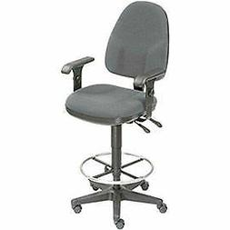 Operator Stool - 360° Footrest With T-Arms - Gray