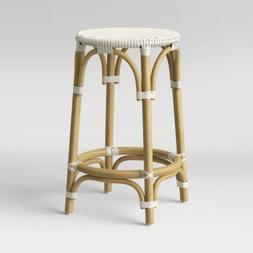 THRESHOLD Perry Rattan Backless Woven Counter Stool   White