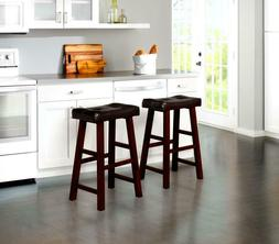 """Set of 2 24"""" or 30"""" Wood Bar Stools with Black Bonded Faux L"""