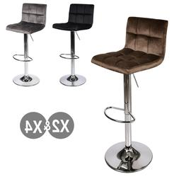 Set Of 2/4 Bar Stools Velvet Counter Height Adjustable Swive