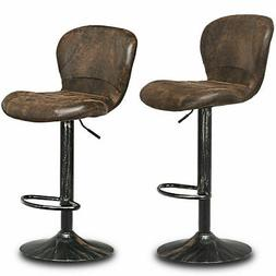 Set of 2 Adjustable Retro Swivel Bar Stool w/Backrest&Footre