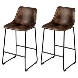 Set of 2 Bar Stool Faux Suede Upholstered Kitchen Dining Cha