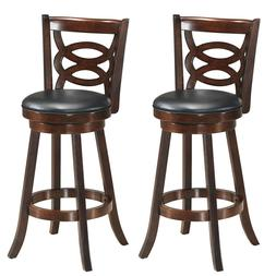 """Set of 2 Bar Stools 29"""" Height Wooden Swivel Backed Dining C"""