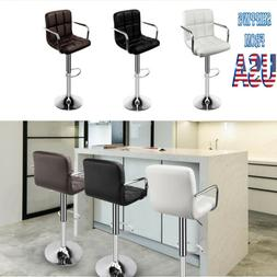 Set of 2 Bar Stools Adjustable PU Leather Counter Height Swi