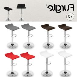 Set of 2 Bar Stools PU Leather Counter Swivel Office Pub Din