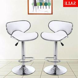 Set Of 2 Bar Stools PU Leather Adjustable Pub Chairs Counter