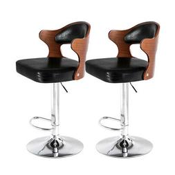 Set Of 2 Bar Stools PU Leather Pub Chairs Adjustable Counter
