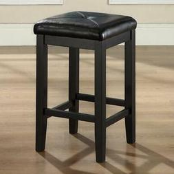 Set of 2 - Black 24-inch Backless Barstools with Faux Leathe