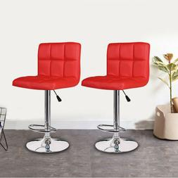 Set of 2 Counter Height Bar Stools Leather Adjustable Swivel