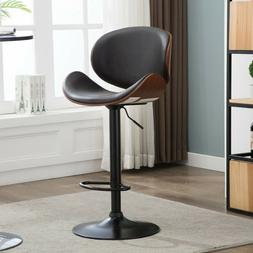 Set of 2 Counter Height Faux Leather Bar Stools Adjustable S