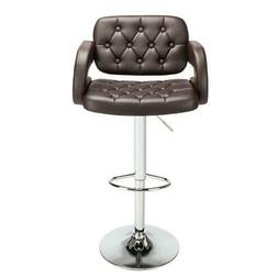 Set of 2 Counter Height PU Leather Bar Stools Adjustable Swi