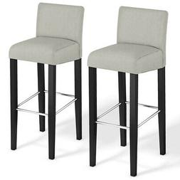 Set of 2 Fabric Bar Stool Pub Chair Bar Height Padded Seat S