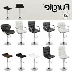 Set of 2 Modern Square PU Leather Adjustable Bar Stools with
