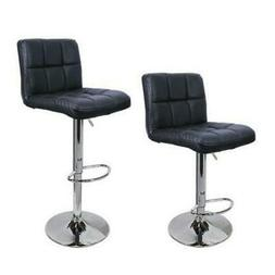 Set Of 2 PCS Adjustable Bar Stools PU Leather Barstools Swiv