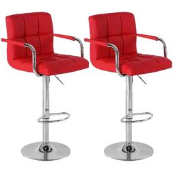Set of 2 Swivel Bar Chairs Adjustable Bar Stools Kitchen Cou