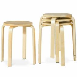 """Set of 4 18"""" Stacking Dining Stools Round Wooden Chairs Back"""