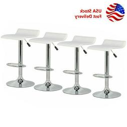 Set of 4 Bar Stool Adjustable Height Leather Counter Swivel