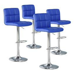 Set of 4 Bar Stools Counter PU Leather Adjustable Height Swi