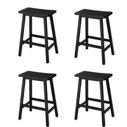 Set of 4 Bar Stools Home Kitchen Dining Room Saddle Seat Woo
