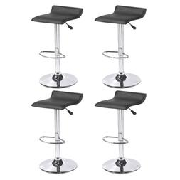 Set of 4 Counter Height Bar Stools Leather Adjustable Swivel