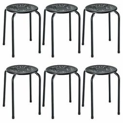 Set of 6 Stackable Metal Stool Set Daisy Backless Round Top