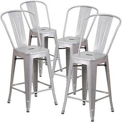 """Set of  Modern Counter Height Style Stools w/ Back 24""""-inch"""