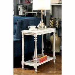 Furniture of America Slade End Table with Tray in White