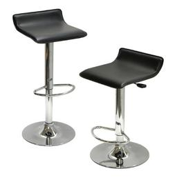 Spectrum Set of 2, Adjustable Air Lift Stool, Black Faux Lea