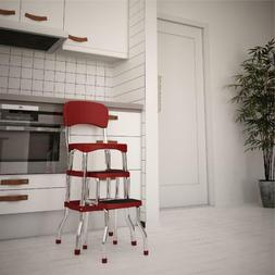 Step Stool Chair Red Retro Padded Vintage Kitchen Counter Wi