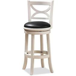 Swivel Counter Stool in White Distressed Finish