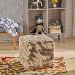 Tessie Knitted Foot Stool by Christopher Knight Home  Medium