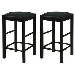 """Linon Tifton Set of Two 25"""" Backless Wood Counter Stools in"""