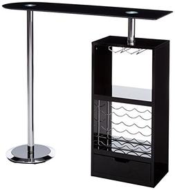 Coaster Contemporary Glossy Black Bar Unit with Sturdy Tempe