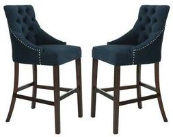 Tufted Bar Stool in Navy and Espresso Finish - Set of 2