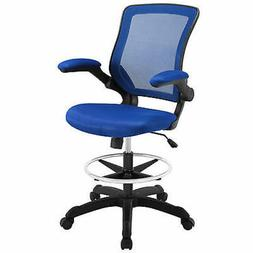 Modway Veer Drafting Chair In Black Mesh With Flip-Up Arms -