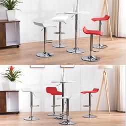 White/red Set of 2 Bar Stool Adjustable Counter Swivel Footr