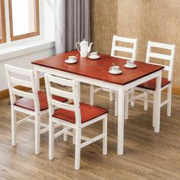 5 Piece Pine Wood Dining Table Set w/ 4 Chairs Kitchen Dinin