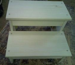 WOODEN BENCH WIDE PLAIN SKIRT 2 STEP STOOL PINE WOOD UNFINIS