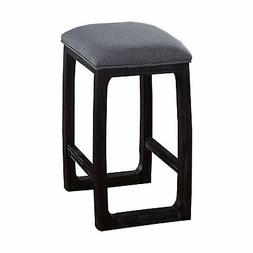 Benjara Wooden Counter Height Stool with Fabric Upholstered