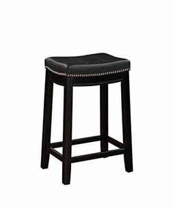 Benjara Wooden Counter Stool with Faux Leather Upholstery Bl